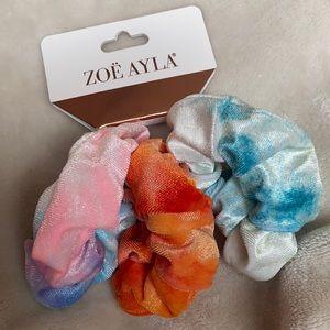 NEW Velvet Feel Tie Dye Scrunchies - 3 Pack